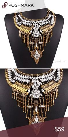 The Ultimate Statement Absolutely Amazing Statement Necklace not for the shy and timid  Unique Style and Grace Worth of Praise and Acknowledgement. I only have one ☝️ Australian Crystal and Beautiful Gold Plated with Lobster Clasp Jewelry Necklaces