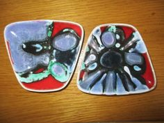 Two Poole Pottery Delphis pin dishes