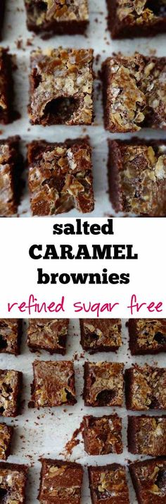 Salted caramel brownies: refined sugar free, fudgy, crackly, sweet and salty. You'll be making a second batch with the week! | plusatesix.com