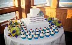 Love cupcakes and cake? Offer both at your Outer Banks wedding! ColemanShots Photography http://www.outerbanksweddingassoc.org/membersearch/memberpage.html?MID=1840=Photographers=16 #weddingcupcakes #weddingcake