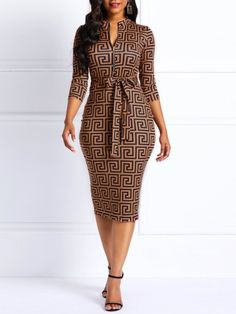 Knee-Length V-Neck Geometric Women's Bodycon Dress - Mode Web Latest African Fashion Dresses, African Dresses For Women, African Print Dresses, African Print Fashion, African Attire, Women's Fashion Dresses, African Dresses Online, Latest Fashion, Ankara Dress Styles