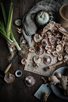 vegan gyoza dumplings with pumpkin leek and mushrooms - kniv - Lebensmittel Gyoza, Dark Food Photography, Rustic Photography, Food Test, Food Drawing, Food Illustrations, Food Pictures, Food Hacks, Food Styling