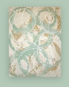 This is an original one of a kind painting by acrylic artist Ora Birenbaum. I used shades of sea foam and dusty blue with accents of taupe,