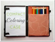 Compact coloring case - www.AbernathyCrafts.com  I took this main idea and tweaked it for my Gr-Granddaughter.  Made it with a VCR case and used chubby crayons. What a great way to upcycle!