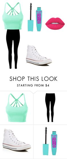 """Summer day"" by maia-abrahamson ❤ liked on Polyvore featuring LE3NO, Converse and Lime Crime"