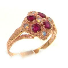 9K Rose Gold Womens Vintage Style Opal & Ruby Cluster Ring - Finger Sizes 5 to 12 Available LetsBuyGold. $248.00