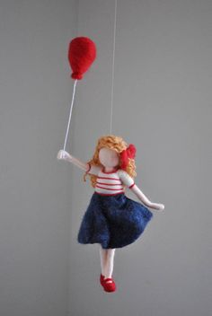 Girls Room Decoration Needle Felted wall hanging doll : Girl with red balloon