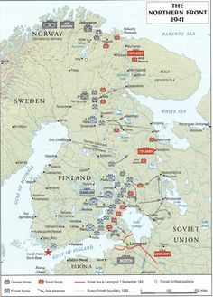 Winter war finland map the winter war with russian attacks situational map of the front in northern russia 1941 gumiabroncs Choice Image