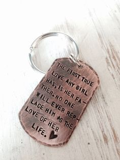 Custom hand stamped keychain dad keychain by BlissStampedJewelry Miss My Daddy, Rip Daddy, Miss You Dad, I Love My Dad, Daddy Daughter Quotes, Daddy Quotes, Cute Quotes, Missing Dad, Dad Tattoos