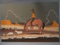 """A fine Native American Navajo Dream Painting by noted Navajo Indian artist Charley Yazzie. This is an original work (guaranteed) in watercolor on art board, unframed. It is signed Charlie Yazzie and measures 18"""" wide by 12"""" high.We acquired it and a few other Dream paintings in 1972 from the Navajo Reservation at Winslow, Arizona. Charley Yazzie usually painted in watercolor and gouache"""