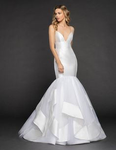 Style 6851 Nevada Hayley Paige bridal gown - Ivory Mikado and tulle fit to flare gown, elongated bodice with deep sweetheart neckline and band at natural waist, cascading banded tulle skirt. Shown with matching veil.