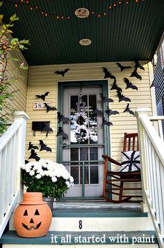 Halloween Door Decor: Bats Flying Across the Door