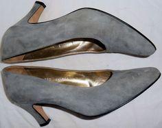 ESCADA Vintage High Heels Shoes Gray Suede Leather 6.5 36.5 B HapaChico Haute #ESCADA #Heels