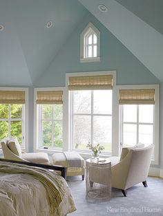 The master bedroom's motorized shades , windows, carpet