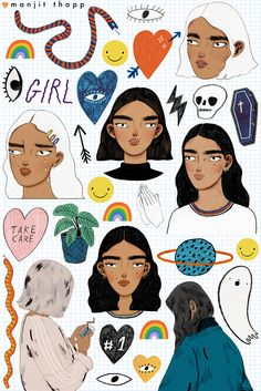 Closer look at the sticker sheet in my shop.