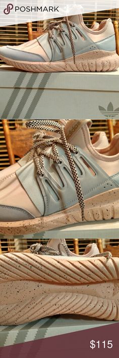 Adidas Custom Mi Tubular New, never worn, still in Adidas bag and box, women's 9.5 (run a little big).  Custom designed online but once recieved they did not fit. Blush pink, grey, and black.  All paperwork is in the box. Adidas Shoes Athletic Shoes