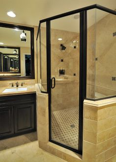 Black and Tan    Rich Retreat Master Bathroom - traditional - bathroom - houston - Cindy Aplanalp at By Design Interiors