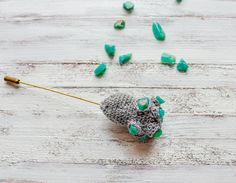 Mountain Flower Crochet Brooch with Amazonite by LidaAccessories