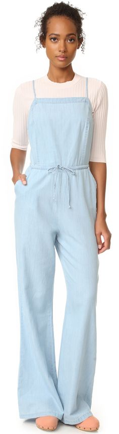 c5941c57378 A wide-leg silhouette complements the easy charm of this chambray Jack by  BB Dakota jumpsuit. BB Dakota Jack by BB Dakota Coriander Jumpsuit