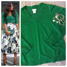 """Emerald v-neck sweater Beautiful emerald sweater. Simple v-neck with classic ribbing at cuffs and waist. Long sleeve. Tagged as size XL; Measurements when laying flat: 20"""" chest and 23"""" total length. By Worthington Worthington Sweaters V-Necks"""