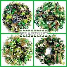 St. Patrick's Day is right around the corner. Browse a large selection of Ready to Ship St. Patrick's Day Wreaths at Fancy Wreath Lady. Visit Fancy Wreath Lady at www.etsy.com/shop/fancywreathlady. Custom Requests Welcome...#stpatricksday
