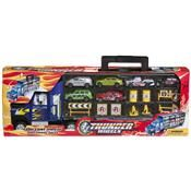 Truck carry case with 6 cars and accessories $15 {Kmart}