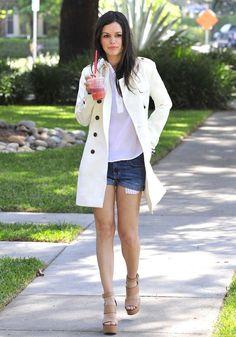 Rachel Bilson classic coat with tee and denim shorts