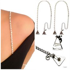 Chic & Classic! Pearl Crystal Straps with Pin-Latch Bra Hooks for Dress, Tops, Gowns