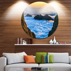 Designart 'Gran Canaria Sunset over Clouds' Seashore Disc Metal Wall art