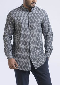 This intricate grey ikat pattern shirt is the so classy and comfortable once wear you can not take it off..