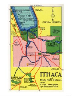 Ithaca, New York - Detailed Map Postcard of Ithaca and Nearby Points of Interest Premium Poster