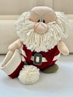 Santa Claus Door Stop Christmas Door Sto - Diy Crafts - Marecipe Felt Christmas Decorations, Easy Christmas Crafts, Christmas Sewing, Christmas Gnome, Diy Christmas Ornaments, Christmas Art, Christmas Projects, Simple Christmas, Christmas 2019