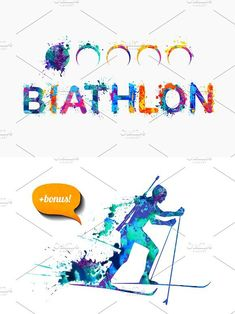 """Word """"Biathlon"""" as a bonus. You will receive: - 1 EPS files with a biathlete - 1 JPEG files Ski Posters, Cross Country Skiing, Athlete, Graffiti, Stamps, Watercolor, Words, Illustration, Summer"""