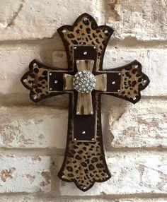 Leopard Print Cross Wall Cross Rhinestone Cross Leopard Home Decor Brown Wall Cross. $30.00, via Etsy.