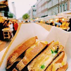 Grilled cheese at a market in Amsterdam.