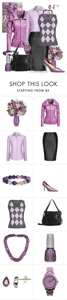 """""""Back to School in Lilac and Leather"""" by featherlynne ❤ liked on Polyvore featuring Danier, Long Tall Sally, NOVICA, China Glaze, Nina B and Light Time"""