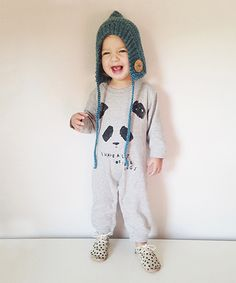 Kid + Kind Heather Gray Feelings Panda Romper - Infant