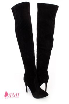 94ef2972d22 Black Suede-like Extreme High Heel Thigh High Boots | Knee High ...