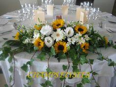 Long and Low Spring Flower Arrangements, Sunflower Arrangements, Floral Arrangements, Sunflower Wedding Centerpieces, Wedding Bouquets, Wedding Flowers, Wedding Altars, Wedding Table, Altar Flowers