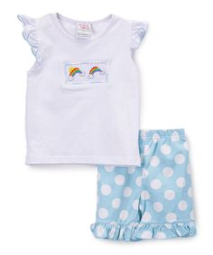 White Rainbow Smocked Top & Shorts - Infant Toddler & Girls
