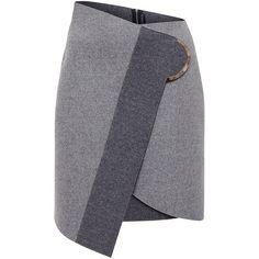 David Koma Wrap Wool Skirt (15.319.755 IDR) ❤ liked on Polyvore featuring skirts, woolen skirt, wool mini skirt, asymmetrical wrap skirt, gray wool skirt and mini skirt