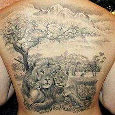 Lion family back tattoo by James Tattooart, Tattoos by James Tattooart Good Family Tattoo, Family Tattoos For Men, Arm Tattoos For Guys, Tattoos Arm Mann, Body Art Tattoos, Sleeve Tattoos, Cool Tattoos, Badass Tattoos, Leg Tattoos