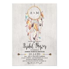 Boho Bridal Shower Invitation With Dream Catcher. Perfect for a bohemian themed wedding shower.