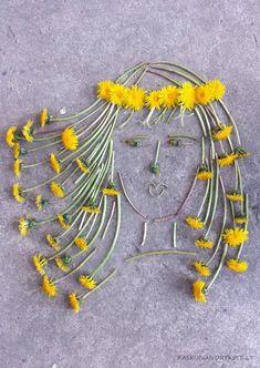 Love this: Panelė Pienė / Lady Dandelion Diy Nature, Art Et Nature, Nature Crafts, Land Art, Art For Kids, Crafts For Kids, Arts And Crafts, Fleurs Diy, Nature Activities