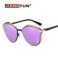 JIANGTUN Women's Sun glasses Polarized Mirror Lens Luxury Ladies Designer Sunglasses Cat Eye Eyewear For Women Free Box