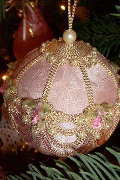 Pink Victorian Christmas Ornament by maorlando-God sustained me 2011 walking w… Victorian Christmas Ornaments, Shabby Chic Christmas, Noel Christmas, Pink Christmas, Christmas Baubles, Christmas Projects, Beautiful Christmas, Christmas Tree Ornaments, Holiday Crafts