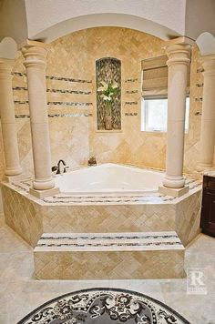Indoor Mini Pinon Cantera Stone Columns Envelope This Bathtub Alcove Finished In Travertine Tile Get Look By Rustico And