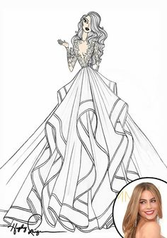 Sofía Vergara wedding dress illustration
