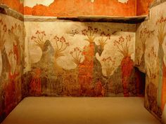 "MINOAN Fresco wall painting of ""Spring"", Archaeological Museum of Athens, from Minoan Bronze Age Settlement of Akrotiri on the Greek island of Thira, Santorini, Greece."