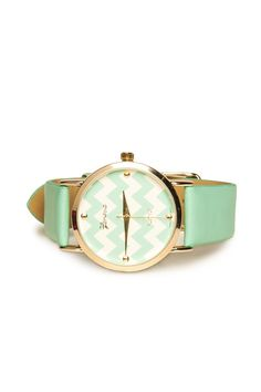 Yours Truly Watch in Mint / ShopSosie #chevron #print #mint #gold #watch #shopsosie